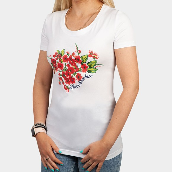 Love Moschino Womens White Roses & Petals Top