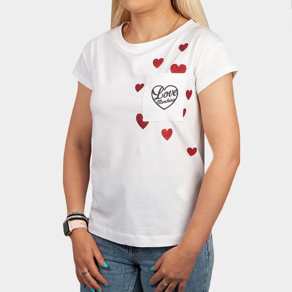 Love Moschino Womens White Pocket Multi Heart T-Shirt