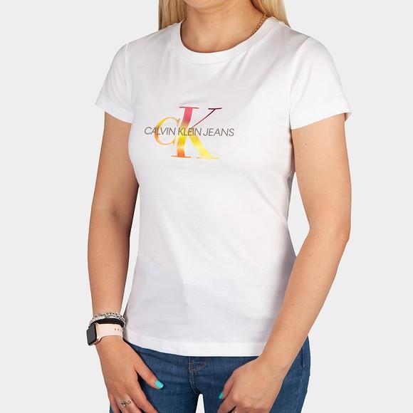 Calvin Klein Jeans Womens White Filled Monogram T Shirt