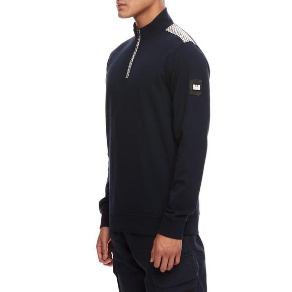 Weekend Offender Mens Blue Miyako Half Zip Sweatshirt