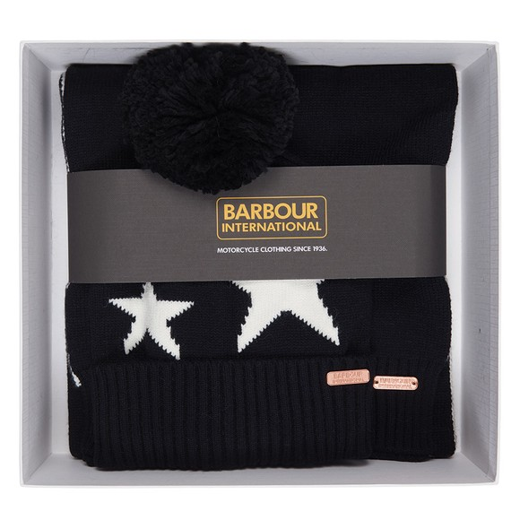 Barbour International Womens Black Star Beanie & Scarf Set