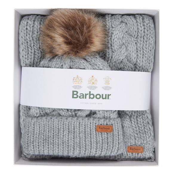 Barbour Lifestyle Womens Grey Penshaw Beanie & Scarf Set