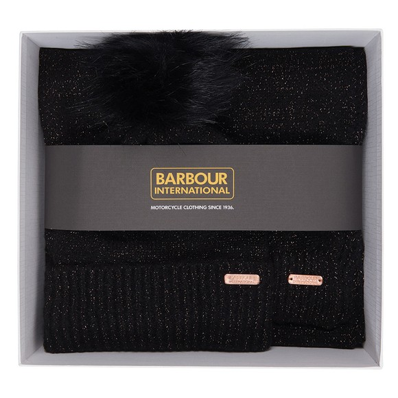 Barbour Lifestyle Womens Black Sparkle Beanie & Scarf Set