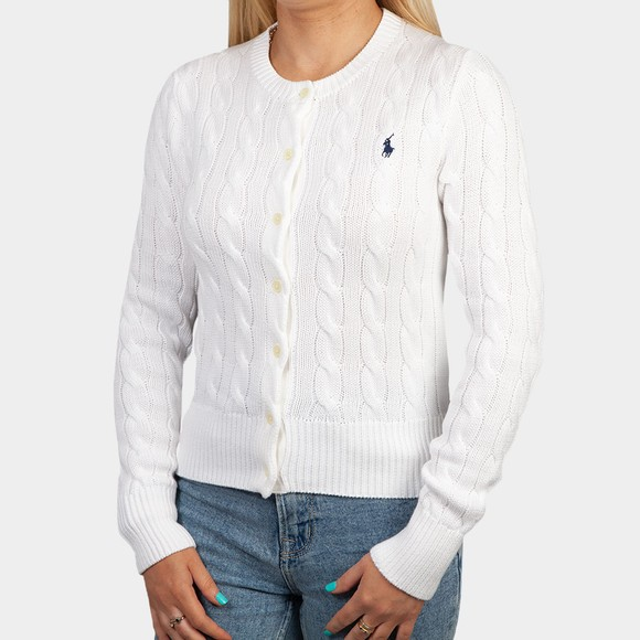 Polo Ralph Lauren Womens White CN Cable Knit Cardigan