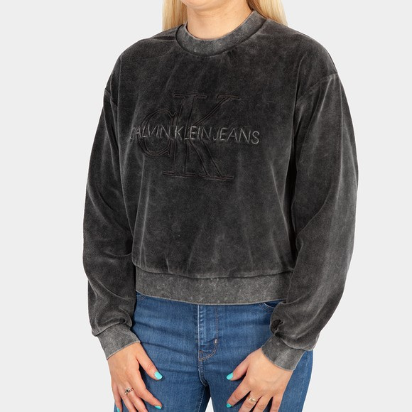 Calvin Klein Jeans Womens Black Washed Velvet Sweatshirt