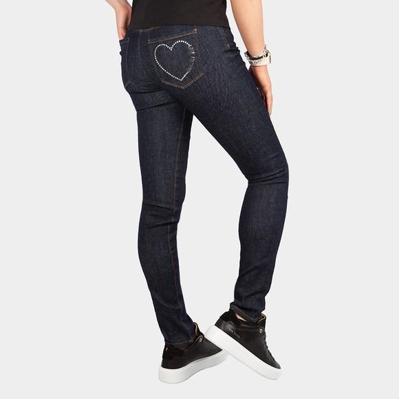 Love Moschino Womens Blue Diamond Stud Jean main image