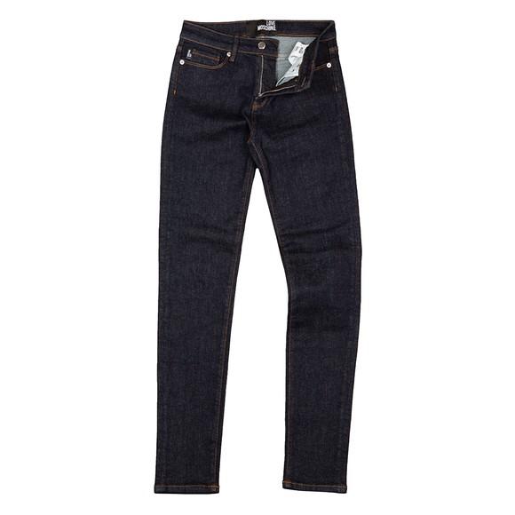 Love Moschino Womens Blue Diamond Stud Jean