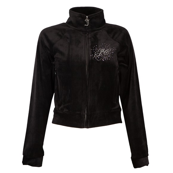 Juicy Couture Womens Black Tanya Scatter Track Top