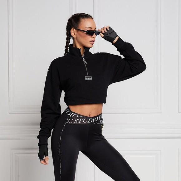 Holland Cooper Womens Black Studio Cropped Sweat