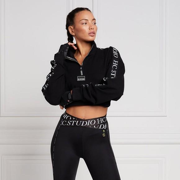 Holland Cooper Womens Black Studio Cropped Sweat main image
