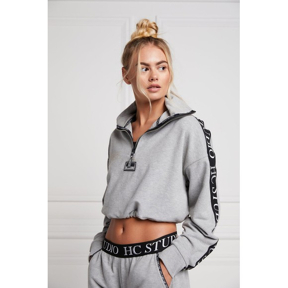 Holland Cooper Womens Grey Studio Cropped Sweat