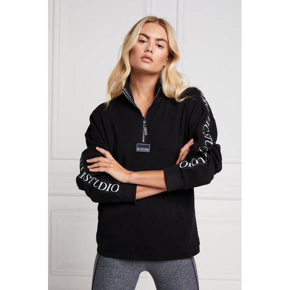 Holland Cooper Womens Black Studio Taped Sweatshirt main image