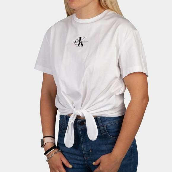 Calvin Klein Jeans Womens White Knotted T Shirt