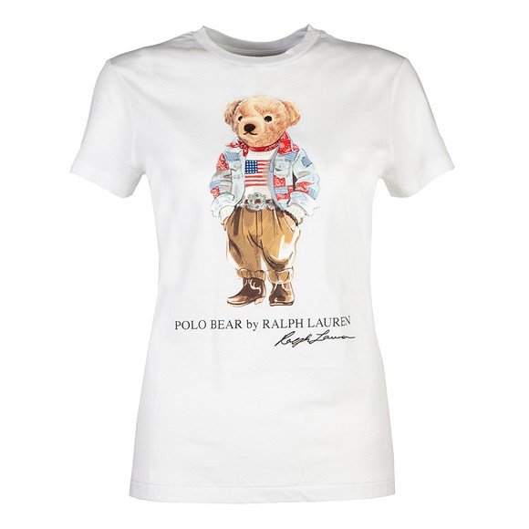 Polo Bear By Ralph Lauren Womens White Bandana Polo Bear T-Shirt