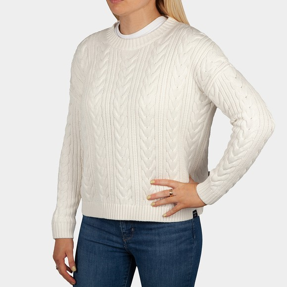 Superdry Womens White Dropped Shoulder Cable Crew Jumper