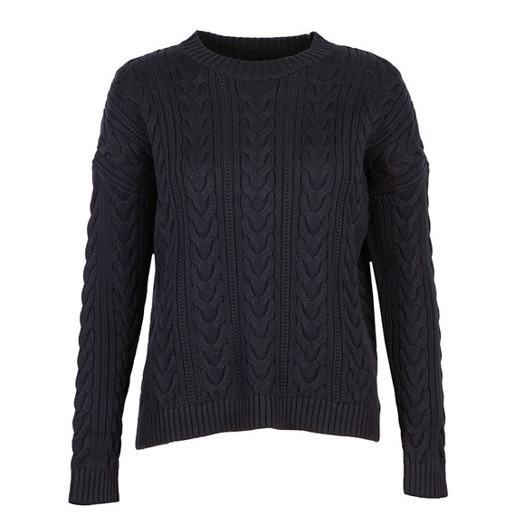 Superdry Womens Blue Dropped Shoulder Cable Crew Jumper