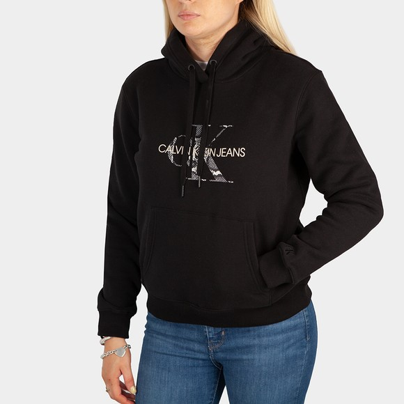 Calvin Klein Jeans Womens Black Reptile Monogram Hoody