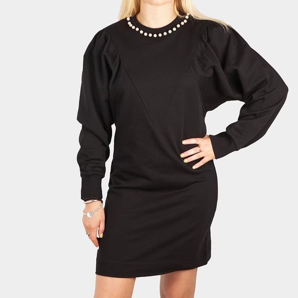 Love Moschino Womens Black Pearl Detail Sweat Dress