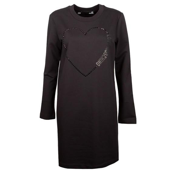 Love Moschino Womens Black Big Diamond Stud Heart Sweatshirt Dress