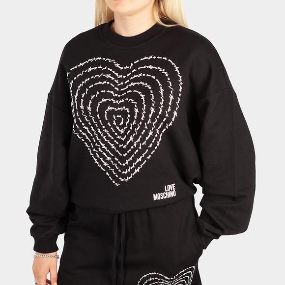 Love Moschino Womens Black Text Heart Sweatshirt