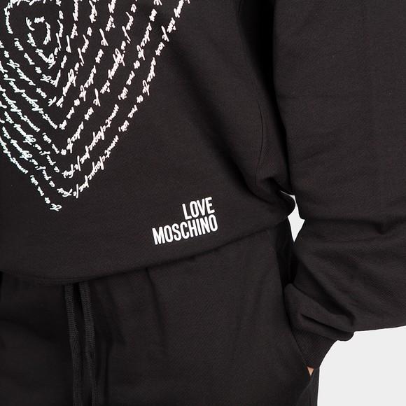 Love Moschino Womens Black Text Heart Sweatshirt main image