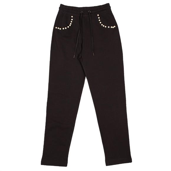 Love Moschino Womens Black Pearl Detail Jogger