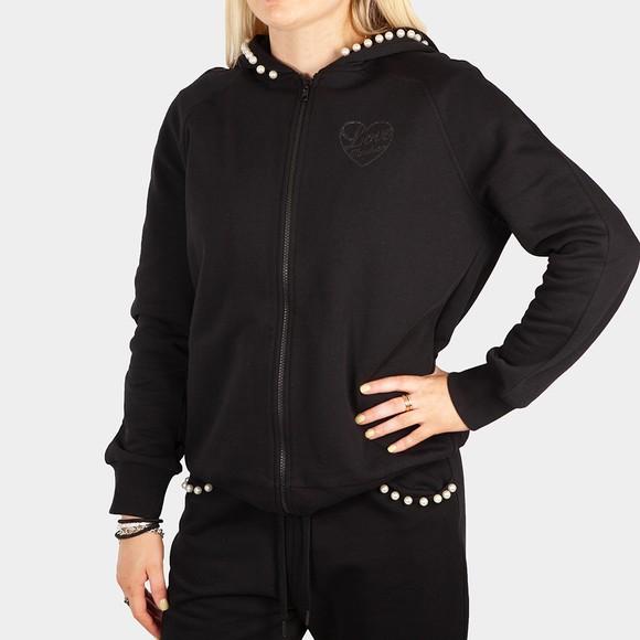 Love Moschino Womens Black Pearl Detail Full Zip Hoody
