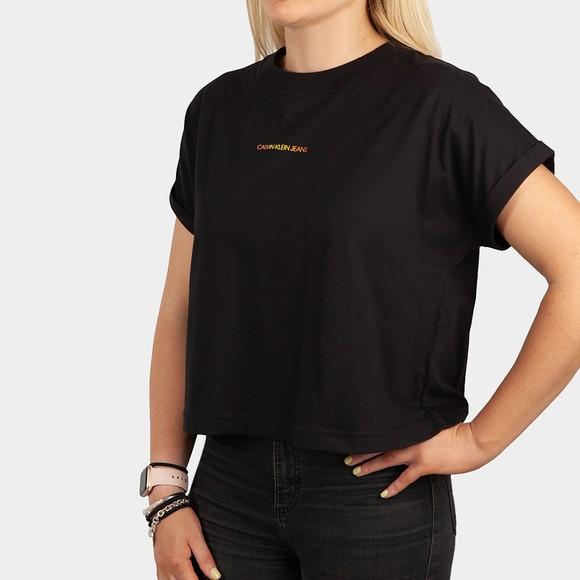 Calvin Klein Jeans Womens Black Degrade Back Logo T Shirt