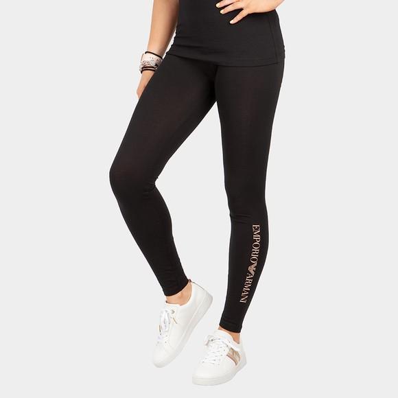 Emporio Armani Womens Black Waist Tape Legging