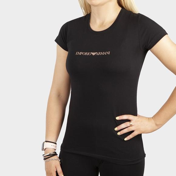 Emporio Armani Womens Black Large Centre Logo T-Shirt
