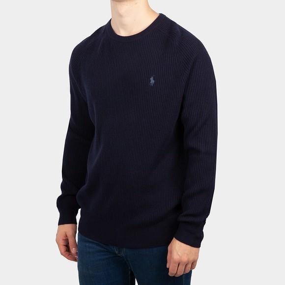 Polo Ralph Lauren Mens Blue Rib Wool Knitted Jumper