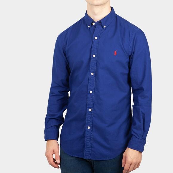 Polo Ralph Lauren Mens Blue Slim Fit Button Down Oxford Shirt