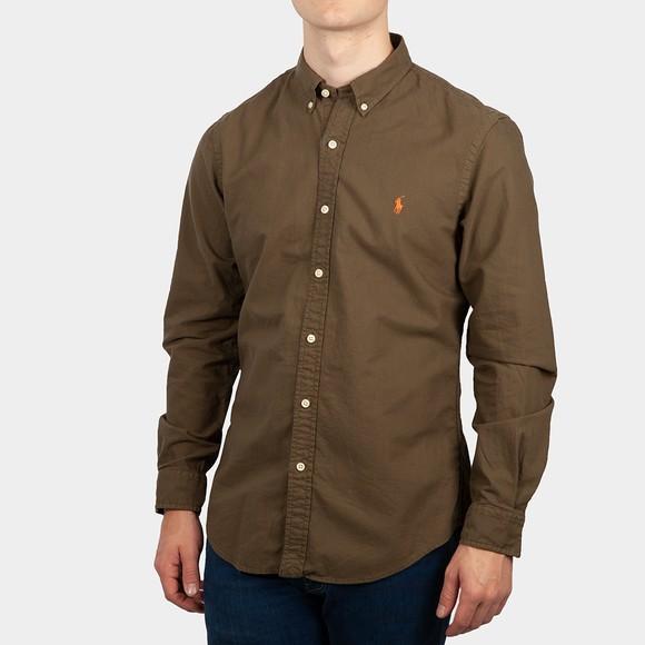Polo Ralph Lauren Mens Green Slim Fit Button Down Oxford Shirt
