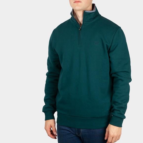 Crew Clothing Company Mens Green Classic 1/2 Zip