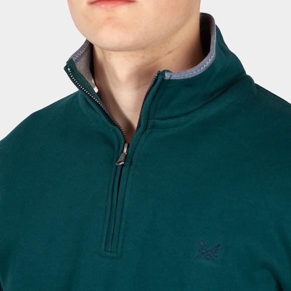 Crew Clothing Company Mens Green Classic 1/2 Zip main image