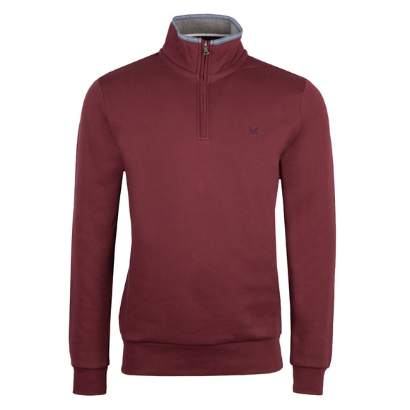 Crew Clothing Company Mens Red Classic 1/2 Zip
