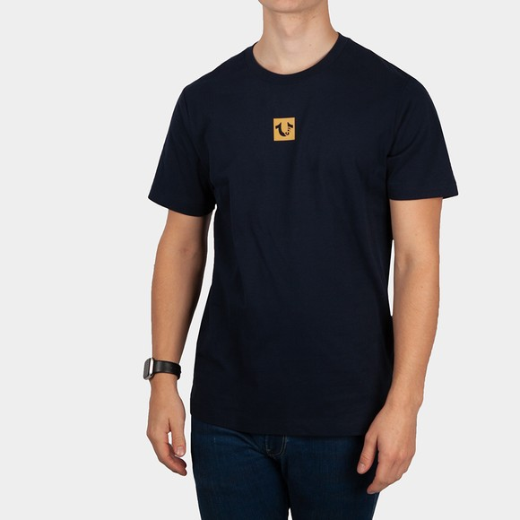 True Religion Mens Blue Icon Logos Centre Piece Logo T-Shirt