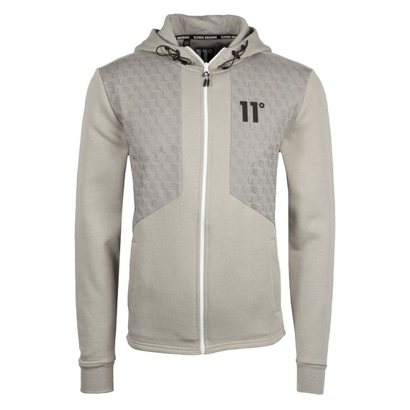 Eleven Degrees Mens Silver Mixed Fabric Zip Hoodie
