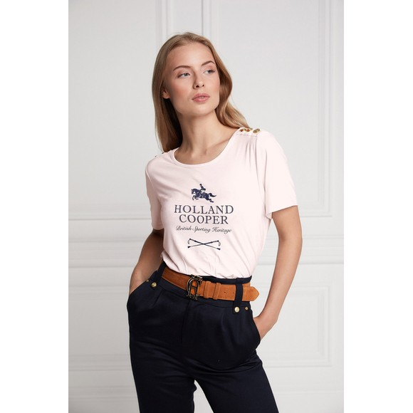 Holland Cooper Womens Pink Hurdle Tee main image