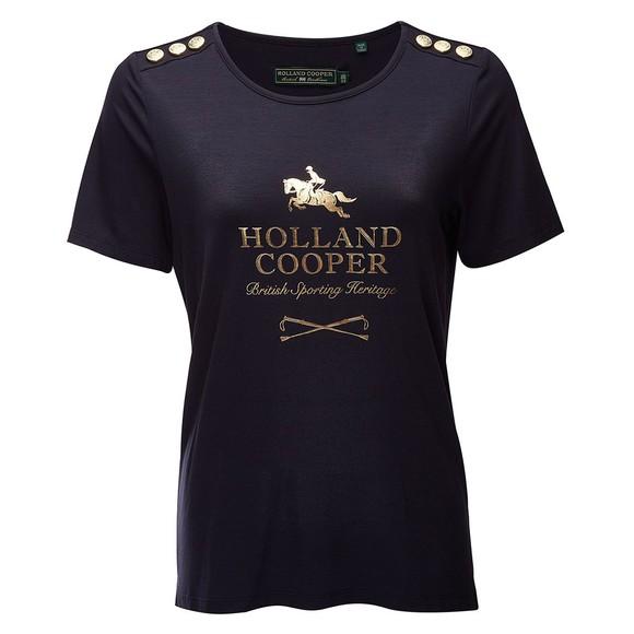 Holland Cooper Womens Blue Hurdle T-Shirt