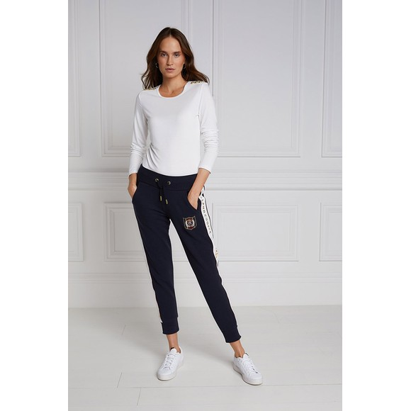 Holland Cooper Womens Blue Crested Joggers