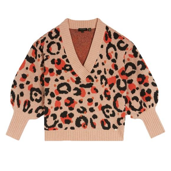 Ted Baker Womens Orange Alicina Animal Jacquard V Neck Sweater