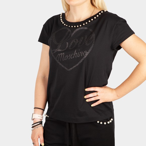 Love Moschino Womens Black Pearl Logo T Shirt