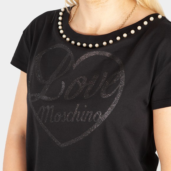Love Moschino Womens Black Pearl Logo T Shirt main image