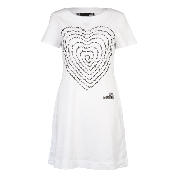 Love Moschino Womens White Text Heart T Shirt Dress