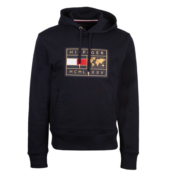 Tommy Hilfiger Mens Blue Icon Earth Badge Hoodie