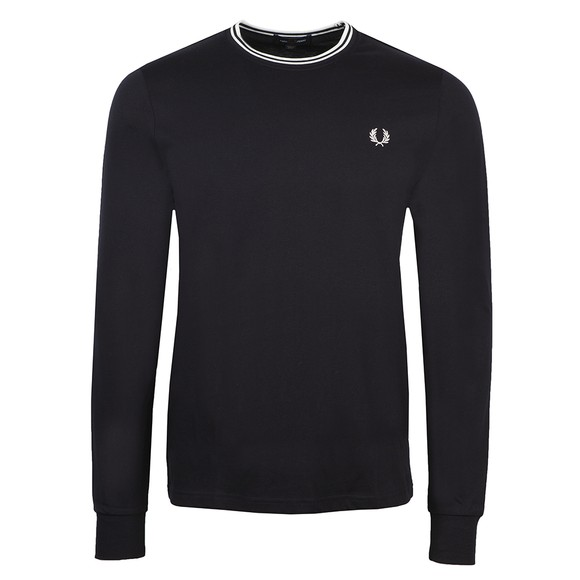 Fred Perry Mens Blue LS Twin Tipped T-Shirt