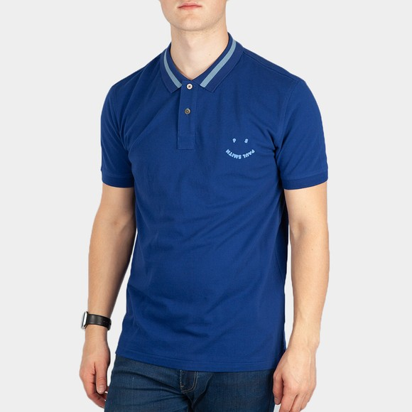 PS Paul Smith Mens Blue Slim Smiley Polo Shirt