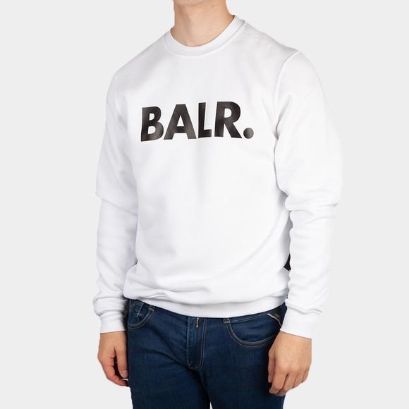 Balr Mens White Brand Straight Crew Neck Sweatshirt