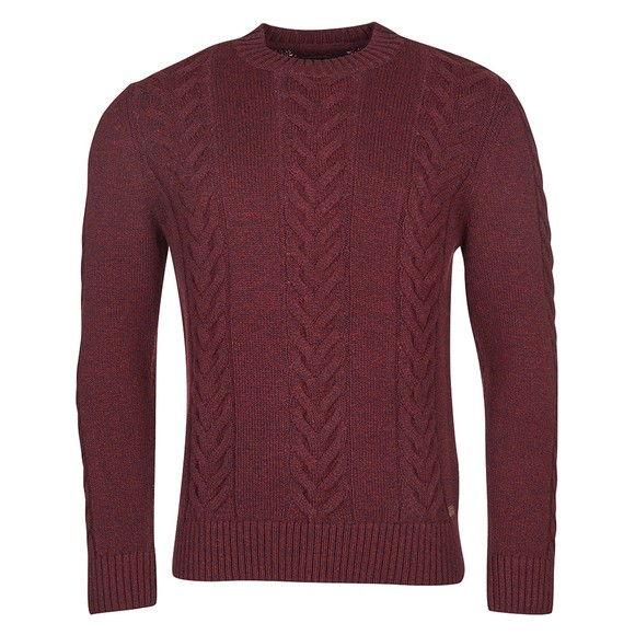 Barbour Lifestyle Mens Red Essential Cable Knit